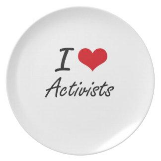 I Love Activists Artistic Design Party Plate