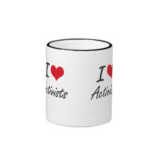 I Love Activists Artistic Design Ringer Mug