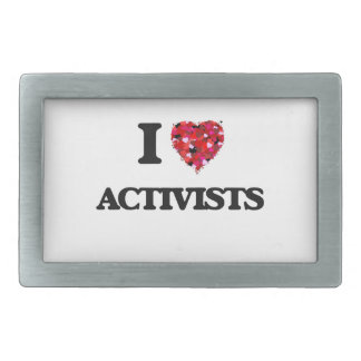I Love Activists Rectangular Belt Buckles