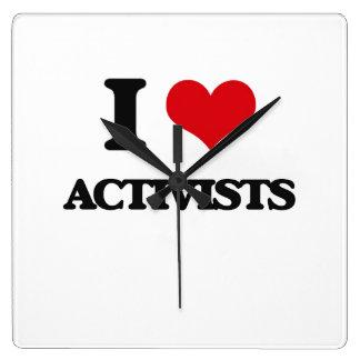 I Love Activists Square Wall Clock