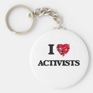 I Love Activists Basic Round Button Key Ring