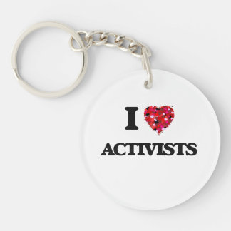 I Love Activists Single-Sided Round Acrylic Key Ring