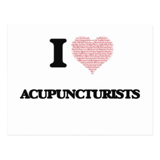 I love Acupuncturists (Heart made from words) Postcard