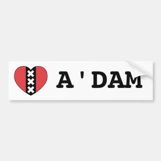 I LOVE A'DAM bumper sticker By Amsterdamned