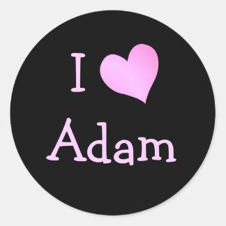I Love Adam Classic Round Sticker