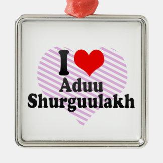 I love Aduu Shurguulakh Silver-Colored Square Decoration