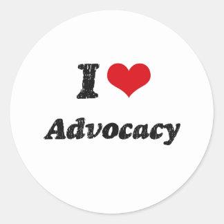 I Love Advocacy Round Sticker