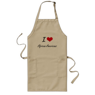 I Love African-Americans Artistic Design Long Apron