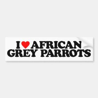 I LOVE AFRICAN GREY PARROTS BUMPER STICKER