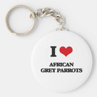 I love African Grey Parrots Key Ring