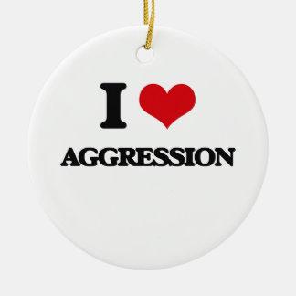 I Love Aggression Christmas Tree Ornament