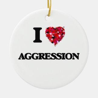 I Love Aggression Round Ceramic Decoration