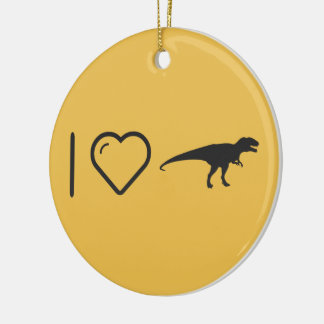 I Love Aggressive Dinosaurs Round Ceramic Decoration