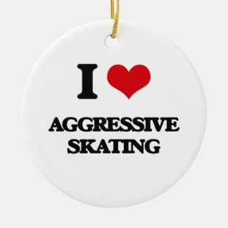 I Love Aggressive Skating Christmas Ornaments