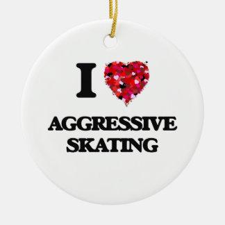 I Love Aggressive Skating Round Ceramic Decoration