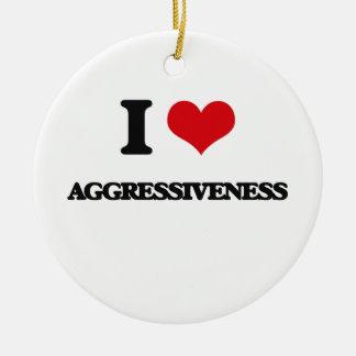 I Love Aggressiveness Christmas Ornaments
