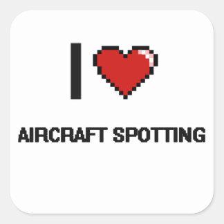 I Love Aircraft Spotting Digital Retro Design Square Sticker