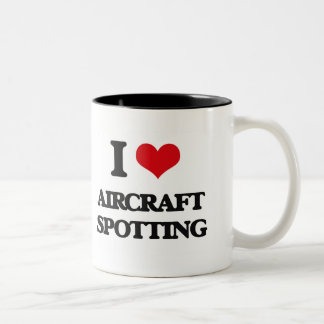 I Love Aircraft Spotting Two-Tone Mug