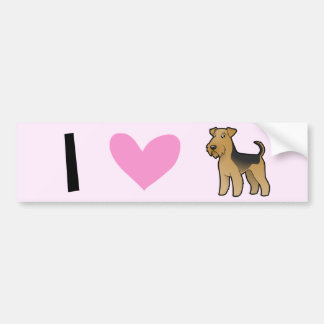 I Love Airedale Terriers / Welsh Terriers Bumper Sticker