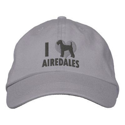 I Love Airedales Grey Embroidered Baseball Caps