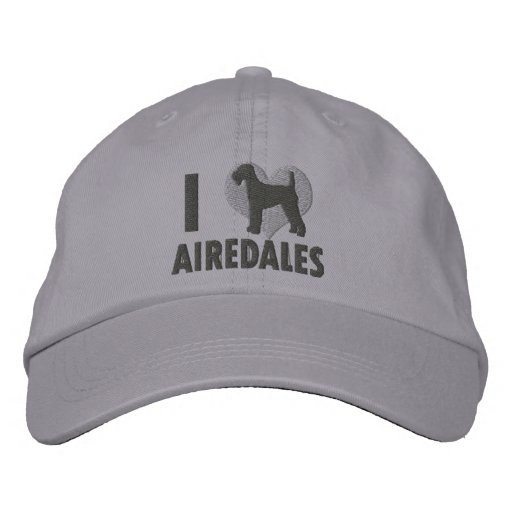 I Love Airedales Grey Embroidered Hat