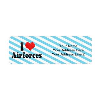 I Love Airforces Return Address Label
