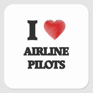 I love Airline Pilots (Heart made from words) Square Sticker