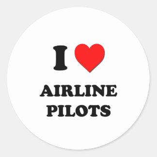 I Love Airline Pilots Round Stickers