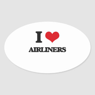 I Love Airliners Oval Stickers
