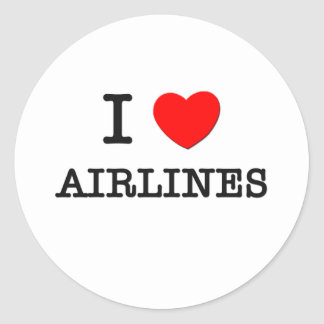 I Love Airlines Round Stickers
