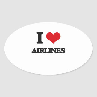 I Love Airlines Oval Sticker