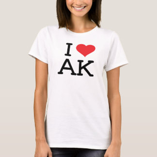 I Love AK - Heart - Ladies Baby Doll T-Shirt
