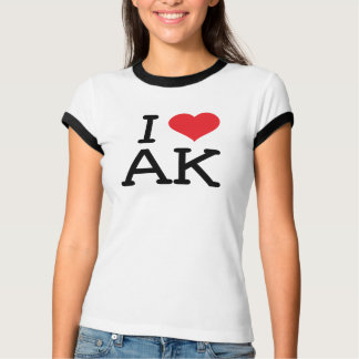 I Love AK - Heart - Ladies Ringer T-Shirt