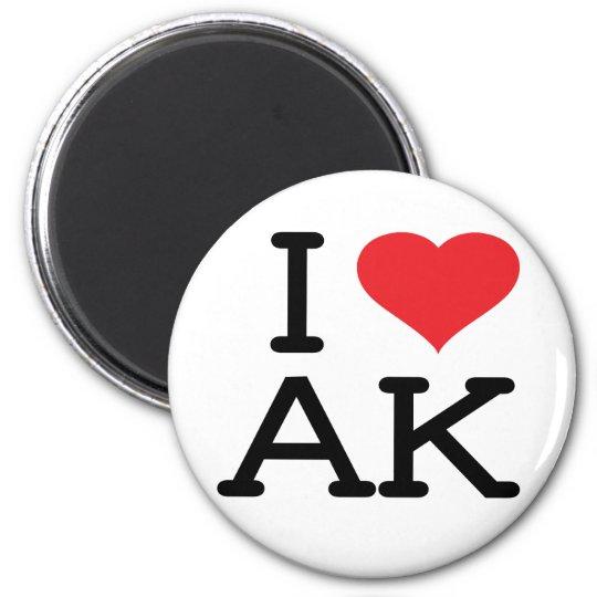 I Love AK - Heart - Round Magnet