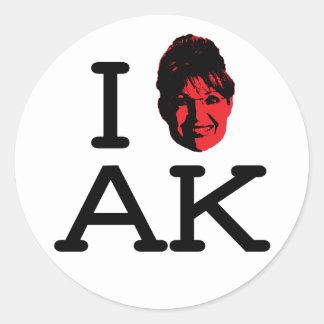 I Love AK - Palin - 6 pk Stickers