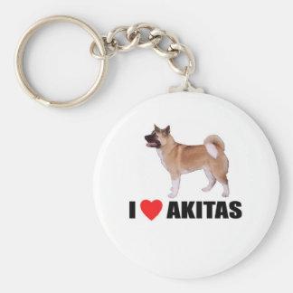 I Love Akitas Key Ring