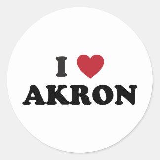 I Love Akron Ohio Round Sticker