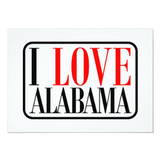 I Love Alabama Design 13 Cm X 18 Cm Invitation Card