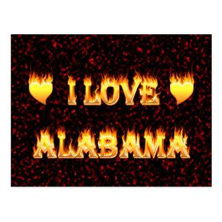 I love alabama fire and flames postcard