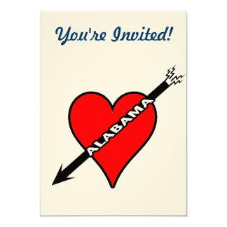 I Love Alabama Heart 13 Cm X 18 Cm Invitation Card