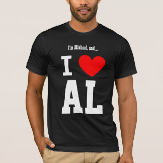 I Love Alabama or Any City or State Red Heart T-Shirt