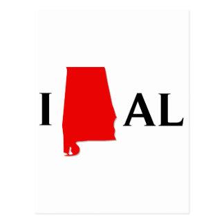 I Love Alabama State Postcard