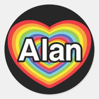 I love Alan, rainbow heart Classic Round Sticker