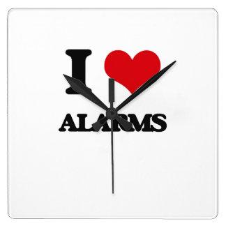 I Love Alarms Square Wallclocks