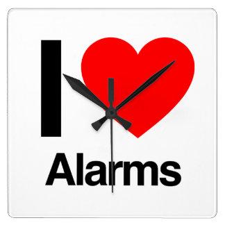 i love alarms square wall clock