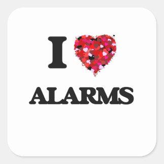I Love Alarms Square Sticker