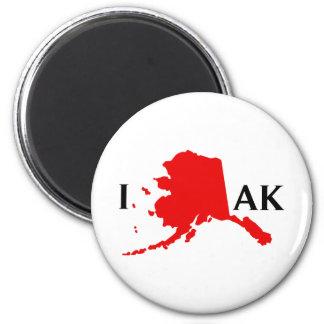 I Love Alaska - I Love AK 6 Cm Round Magnet