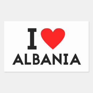 i love Albania country nation heart symbol text Rectangular Sticker