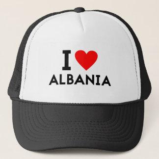i love Albania country nation heart symbol text Trucker Hat