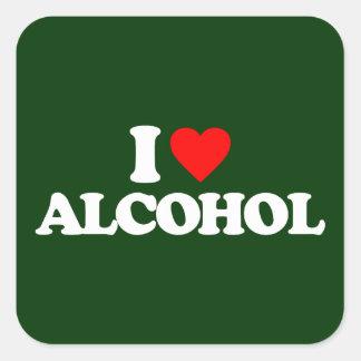 I LOVE ALCOHOL SQUARE STICKER